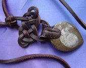 Moroccan Ammonite Fossil on Spanish Leather Necklace, Celtic Knotwork, One-of-a-Kind