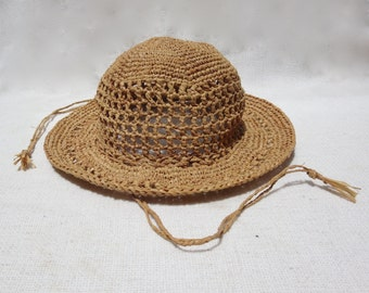 Classic Crochet Sun Hat  For Toddler Girl - Natural Raffia/Straw