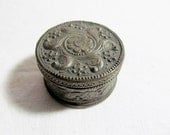 Old Ornate Silver Repousse Trinket Jewelry Box