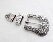 Ornate Floral Vintage Silver Plated Ranger Set Belt Buckle Tip Keeper