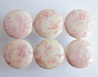 Pink Floral Drawer Knobs- Pink Toile Knobs- Pink Bird Knobs- Pink Roses Drawer Knobs -1 1/2 Inches