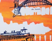 THE FIVE BOROUGHS #57 | New York City travel sketches | bright sunset colors | original silkscreen print | by Kathryn DiLego