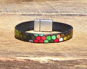 Multicolored Fish Scales Leather Bracelet green red brown black antique silver vibrant multicolor magnetic clasp