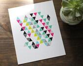 "Color Pop Triangle Digital Art Print // Modern Bright Triangle 8x10"" Wall Art"