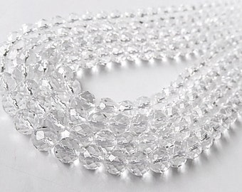 Large Rock Crystal Faceted Rounds, 8mm Your Choice Strand (55qc2)