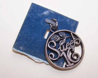 Vintage STERLING SILVER Charm by Wells - Sweet Sixteen