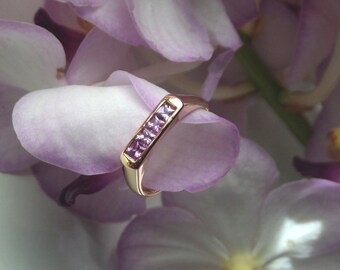 Natural Lilac Sapphire and 18k Rose Gold Ring, Handforged and Ready to Ship (OOAK)