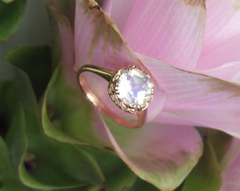 Moonstone Engagement Ring, 18k Rose Gold and Blue Sheen Rainbow Moonstone Ring, Made on Order