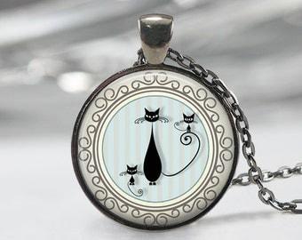 Black  Glass Pendant - Black Jewelry - Cat Necklace - Art Pendant - Cat Necklace -Black cat  Charm