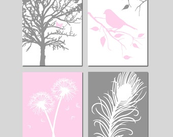 Baby Girl Nursery Art Quad - Butterfly in a Tree, Bird on Branch, Dandelions, Peacock Feather - Set of Four 8x10 Prints - CHOOSE YOUR COLORS