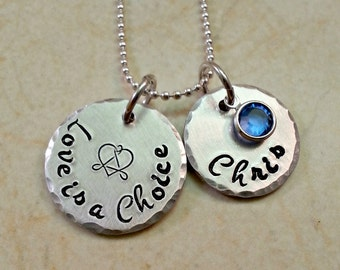 Adoption Necklace, Gotcha Day Gift, Adoption Jewelry, Hand Stamped Personalized Mommy Jewelry, Children's Names, Birthstone, Adoptee Gift
