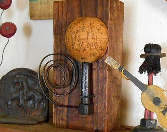 Found Object Art Assemblage, reclaimed wood sculpture with found objects. Rustic Recycled Art