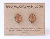 Millennium Falcon earrings - alder laser cut wood earrings
