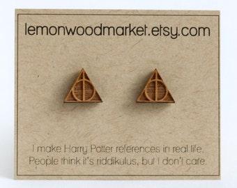 Harry Potter Deathly Hallows earrings - alder laser cut wood earrings