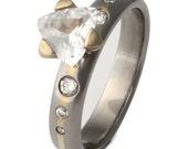 Titanium Solitare Engagement Ring - Diamond Set Gold Inlay and Trillion Cut White Sapphire - e9