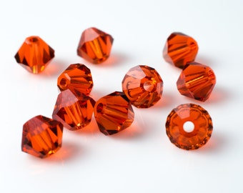 Indian Red Bicone Crystal Beads