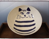 Large Bowl with Cute Navy Cat in White by misunrie