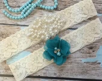 Wedding garter / Lace garter SET / bridal  garter / vintage lace garter / toss garter / wedding garter / pearl garter / teal garter