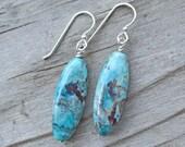 Chrysocolla Elegance Sterling Silver Earrings Healing Natural Gemstone Earrings