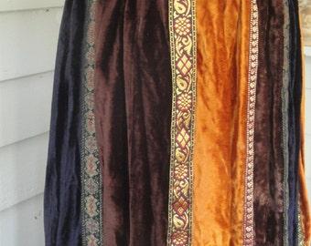 Vintage 80s Pier 1 Gypsy Crushed Velvet Maxi Skirt // Multi Colored // Bohemian Fantasy