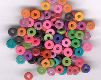 100 Bright Color Mix - Greek Matte Ceramic 6mm ROUND Washer Shaped Beads - Large Holed Bead