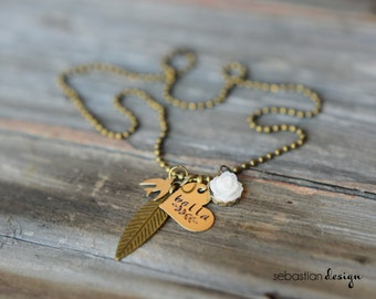 Mother's Day Stamped Heart Charm Necklace with Name