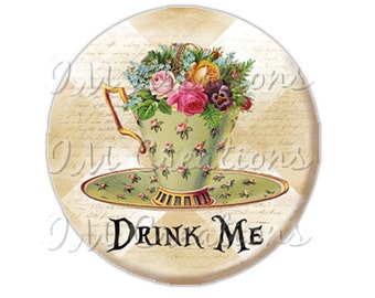 "Pocket Mirror, Magnet or Pinback Button - Wedding Favors, Party themes - 2.25""- Alice In Wonderland Tea Time MR269"