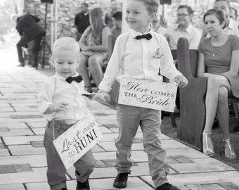 Ring bearer sign set, elegant wedding