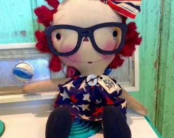 Fourth of July - America - patriotic - primitive America - American flag - Raggedy Annie - Raggedy Ann -  Ragdoll - Red white and blue -