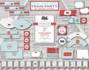 Custom Vintage Modern Train Birthday Party Package - Diy Printable File - (PARTIAL INSTANT DOWNLOAD!!)