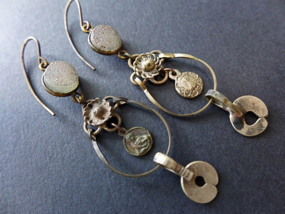 Ontosophy. Delicate rustic Victorian tribal assemblage earrings with druzy, kuchi and religious medals.