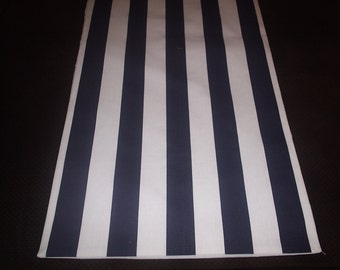 Navy and White Striped Table Runner