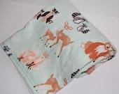 baby blanket- hello bear aqua and minky- ready to ship