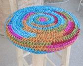 Kalidescope Crochet Wooden Stool Cover