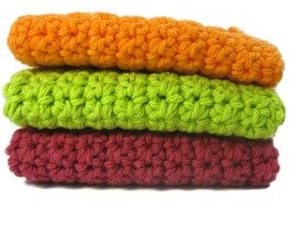 Ready Set Go! Crochet Cotton Dish Cloth Wash Cloth Set of Three