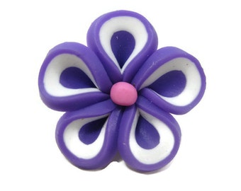 Purple Polymer Clay Flowers 22mm Beads Set of 4 (L05)