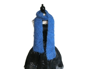 "Medium Blue Fuzzy Knitted Scarf ""Alluring in Blue"""