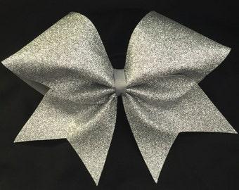 Custom Cheerleader Silver Glitter Cheer Hair Bow