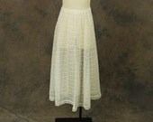 vintage 60s Sheer Lace Skirt - 1960s White Lace Midi Skirt Sz XL