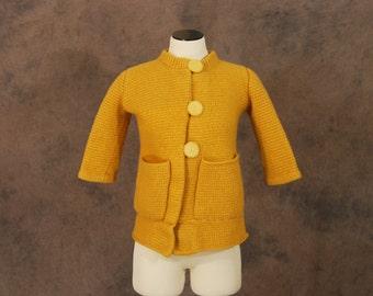 CLEARANCE vintage 60s Cardigan - 1960s Mustard Yellow Wool Sweater - SZ XS