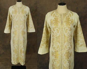 vintage 60s Greek Caftan - White and Gold Embroidered Maxi Dress -1960s Boho Ethnic Hippie Festival Dress Sz XS S