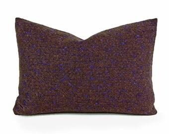 Brown Tweed Pillow Cover,  Rustic Wool Pillows, Mens Throw Pillows, Copper Brown Black Blue Textured Flecks, Mens Rustic Cushion 14x20 20x20