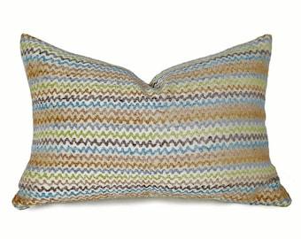 Lumbar Chevron Pillow, Blue Tan Designer Pillow Cover,  Contemporary Pillow, 12x18 Oblong, Cream, Blue, Tan, Kiwi Green, Neutral Home Decor