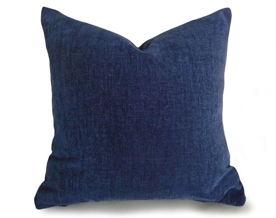 Navy Blue Pillow Cover, Solid Blue, Textured, Chenille, Accent Throw Pillows, Handmade Cushion ...