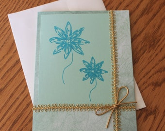 Teal Inked Flowers All Occasion Greeting Card