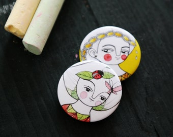 Girly pin SET, button brooches for her