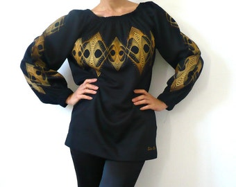 FRench Vintage Handpainted Black Blouse