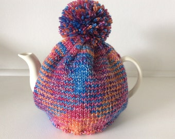 Knitted tea cosy - Tweed Cable Design - Blue/Orange/red designed for an 8 cup pot