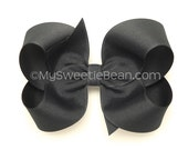 Dark Gray Boutique Bow, 4 inch Hair Bow, Flannel Gray Hair Bow, Basic Bow, Charcoal Grey, BIg Hair Bow, Womens Bow