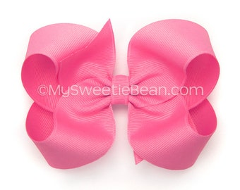 Pixie Pink Hair Bow, 4 inch Boutique Bow, Grosgrain Hair Bows for Girls, MTMG Sparkle Kitty, Baby Toddler Girls, Bright Raspberry Pink